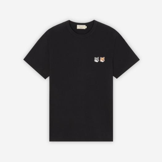 메종 키츠네 더블 폭스 헤드 패치 클래식 티셔츠 블랙