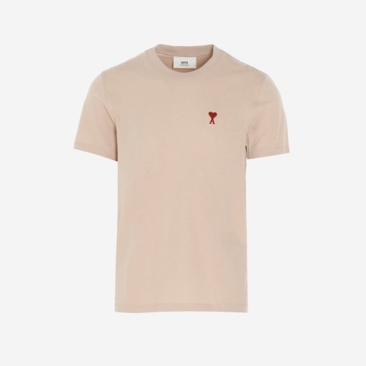 아미 스몰 하트 로고 티셔츠 베이지 (21SS)