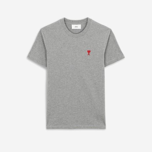 아미 스몰 하트 로고 티셔츠 헤더 그레이/그리 신 (21SS)