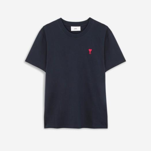 아미 스몰 하트 로고 티셔츠 네이비/마린 (21SS)