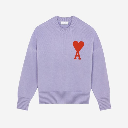 아미 빅 하트 로고 오버사이즈 스웨터 라일락
