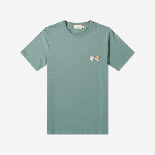 메종 키츠네 더블 폭스 헤드 패치 클래식 티셔츠 블루 그린