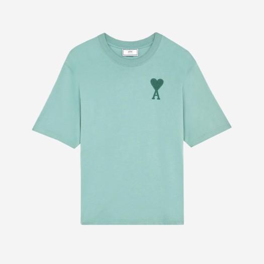 아미 톤온톤 하트 로고 티셔츠 그린 아쿠아