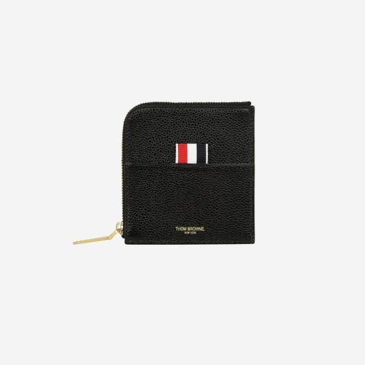 톰브라운 페블 그레인 레더 스트라이프 집어라운드 지갑 블랙