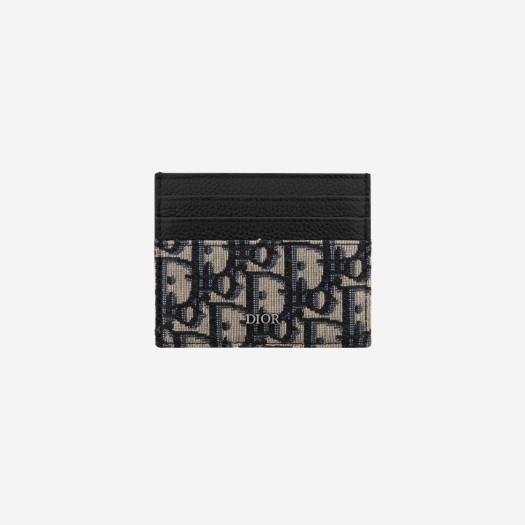 디올 베이지 & 블랙 디올 오블리크 자카드 카드 홀더