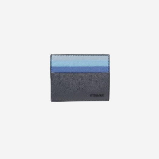 프라다 사피아노 레더 카드 홀더 멀티 네이비