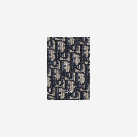 디올 베이지 & 블랙 디올 오블리크 자카드 2단 카드 홀더