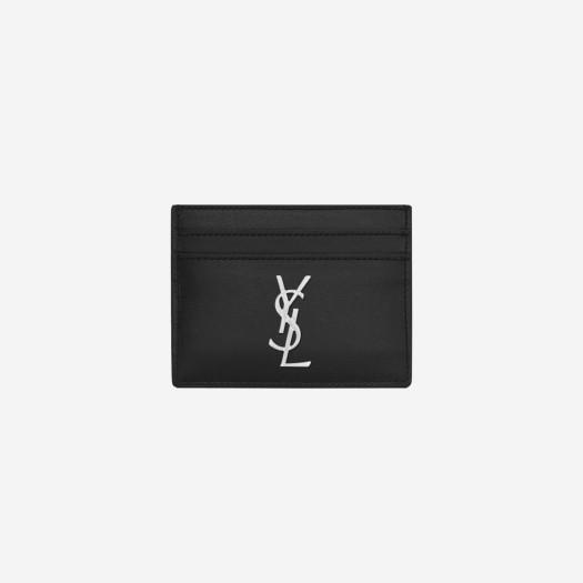 생로랑 모노그램 레더 카드 케이스 블랙