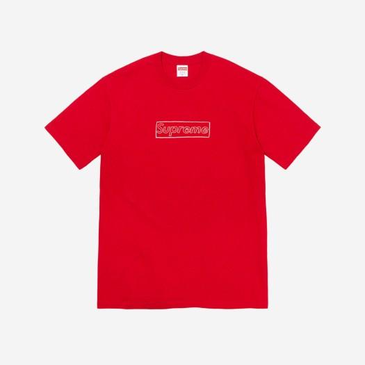 슈프림 x 카우스 초크 로고 티셔츠 레드 (21SS)