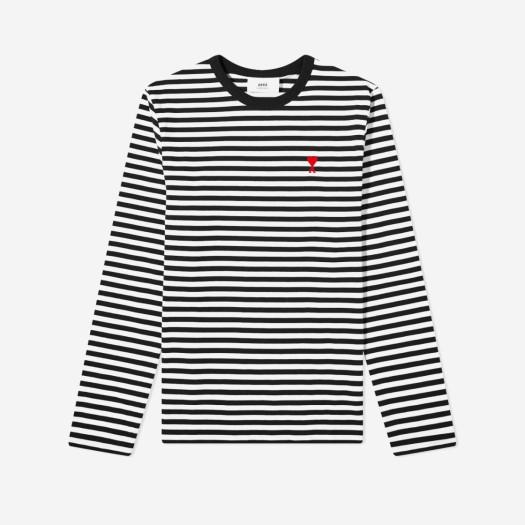 아미 스몰 하트 로고 스트라이프 티셔츠 블랙