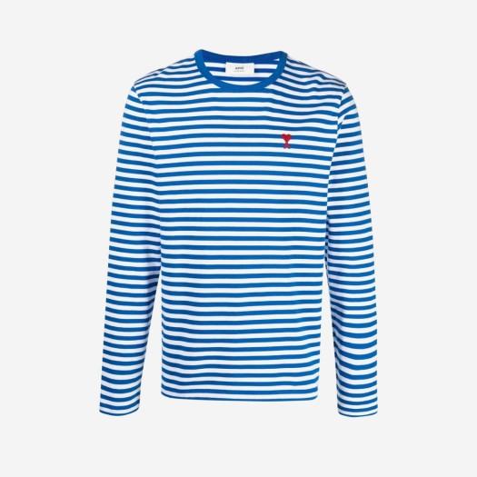 아미 스몰 하트 로고 스트라이프 티셔츠 블루