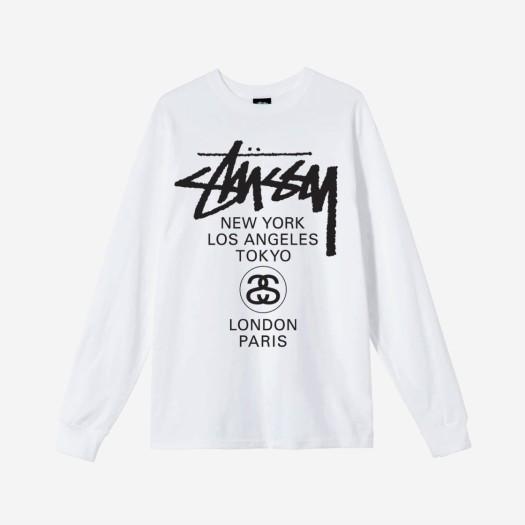 스투시 월드투어 롱슬리브 티셔츠 화이트 2021