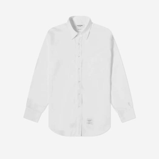 톰브라운 그로글랭 플래킷 솔리드 포플린 셔츠 화이트