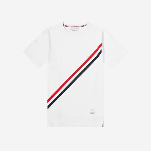 톰브라운 다이애그널 스트라이프 숏슬리브 티셔츠 화이트