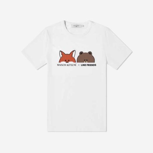 메종 키츠네 x 라인 프렌즈 페이스 프린트 티셔츠 화이트