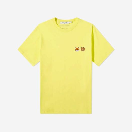메종 키츠네 x 라인 프렌즈 스몰 패치 티셔츠 옐로우