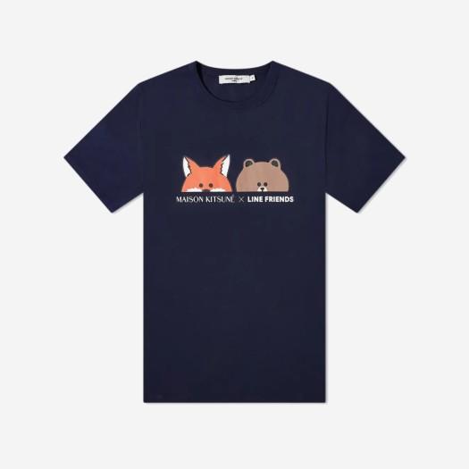 메종 키츠네 x 라인 프렌즈 페이스 프린트 티셔츠 네이비