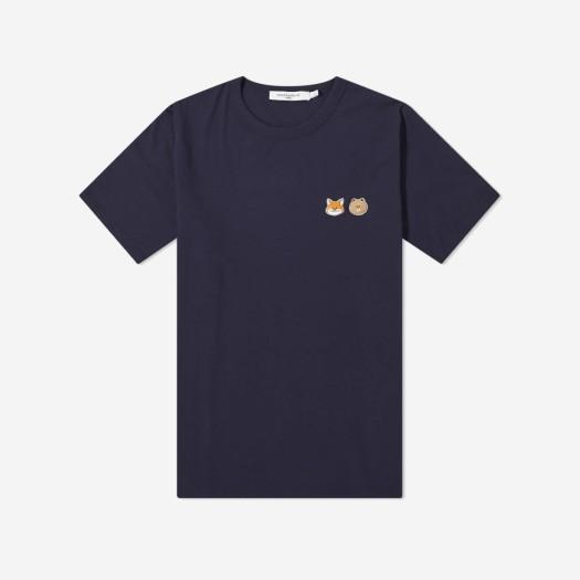 메종 키츠네 x 라인 프렌즈 스몰 패치 티셔츠 네이비