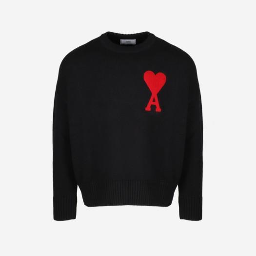 아미 빅 하트 로고 오버사이즈 스웨터 블랙 (20FW)
