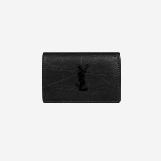 생로랑 크로커다일 엠보스드 레더 지갑 블랙