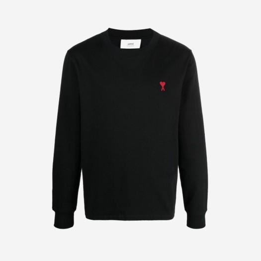 아미 스몰 하트 로고 롱슬리브 티셔츠 블랙/느와르 (21FW)