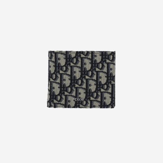 디올 컴팩트 코인 지갑 베이지 & 블랙 디올 오블리크 자카드