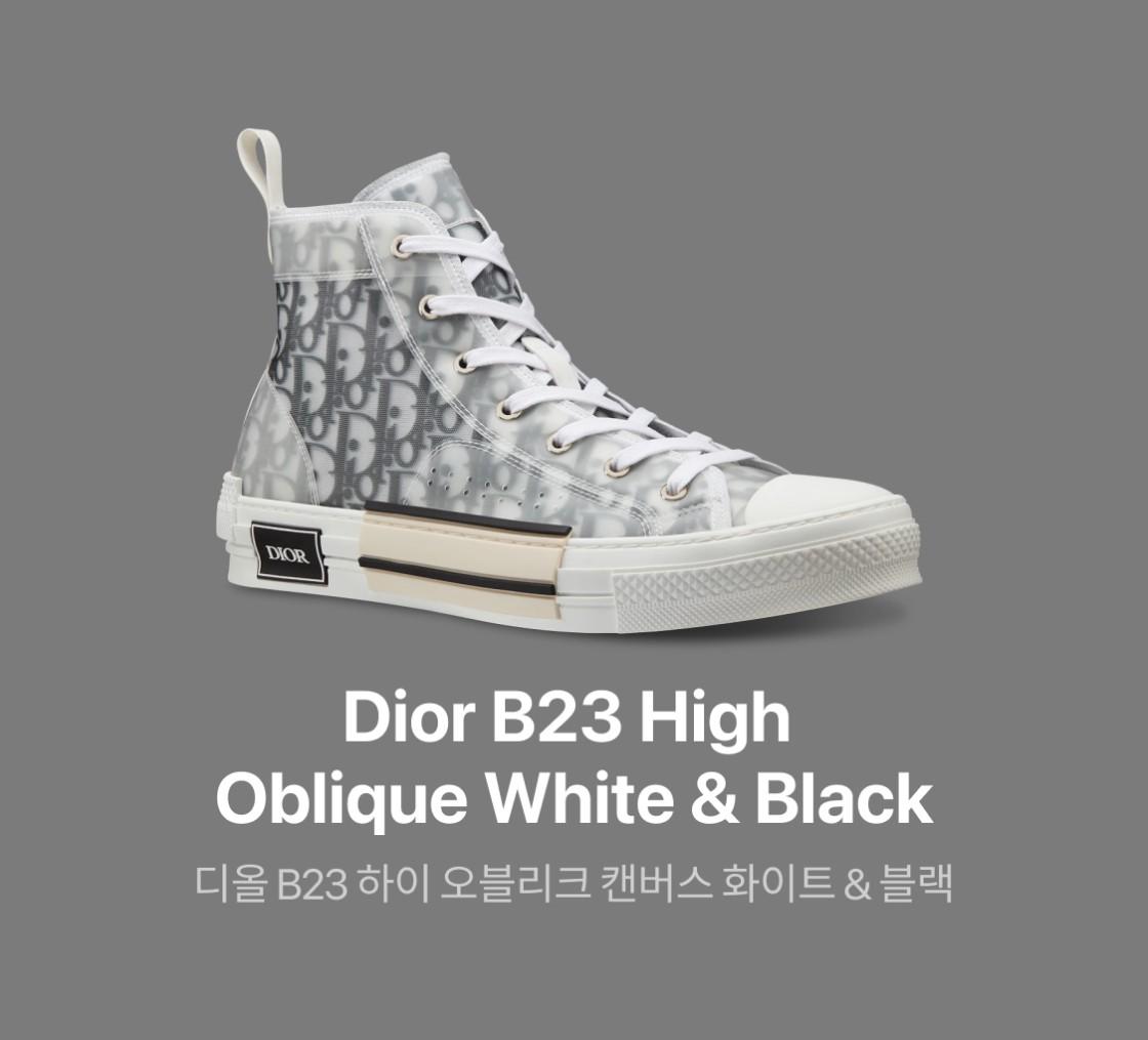 디올 B23 하이 오블리크 캔버스 화이트 & 블랙