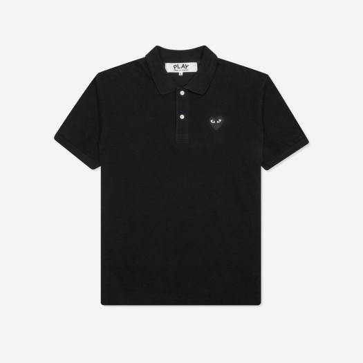 (W) 플레이 꼼데가르송 블랙 와펜 폴로 셔츠 블랙