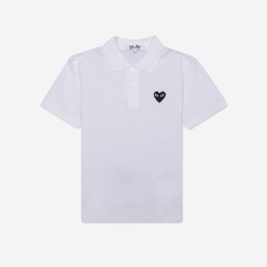 (W) 플레이 꼼데가르송 블랙 와펜 폴로 셔츠 화이트