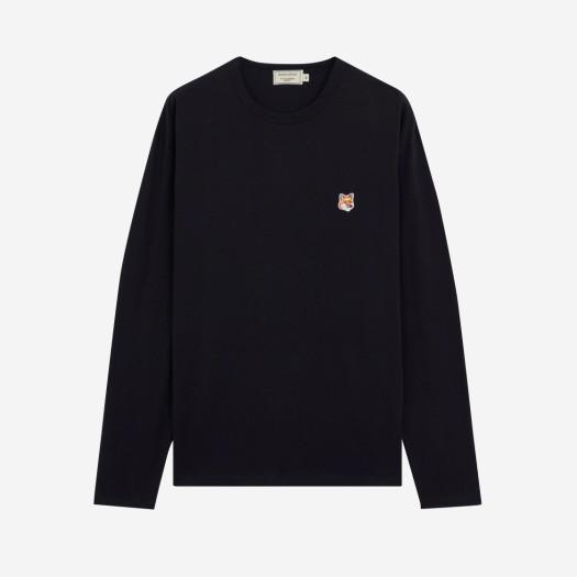 메종 키츠네 폭스 헤드 패치 레귤러 롱슬리브 티셔츠 블랙